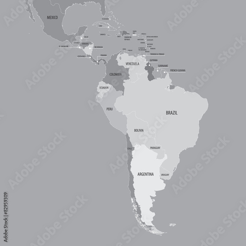 South America Map - Vector Map of South and Central America - Buy ...