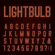 Retro Lightbulb Alphabet Vecto...