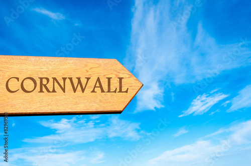 Photo  Wooden arrow sign pointing destination CORNWALL, ENGLAND