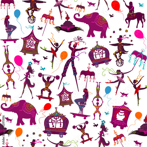 Cotton fabric seamless colorful circus characters