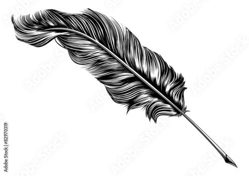 Vintage feather quill pen illustration Fototapet