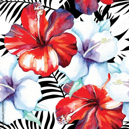 wzór akwarela hibiskusa, tło graficzne palmy