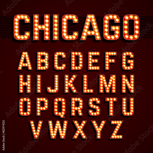 Photo  Broadway lights style light bulb alphabet