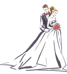 Naklejka Wedding couple hugging.Silhouette of bride and groom.