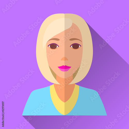Fotografie, Obraz  Young woman with blonde hair, square flat icon