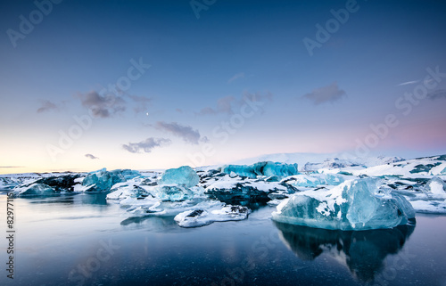 Icebergs floating in Jokulsarlon glacier lake