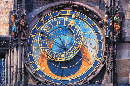In de dag Praag Famous astronomical clock Orloj in Prague