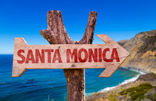 Santa Monica Wooden Sign With Coast Background