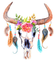 Watercolor Bull Skull With Flo...