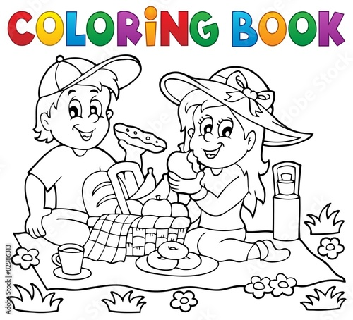 Wall Murals For Kids Coloring book picnic theme 1
