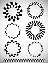 Different Checkered (chequered) Elements. Vector. Art Brush Temp