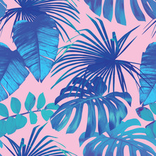 Tropical Leaves Seamless Background