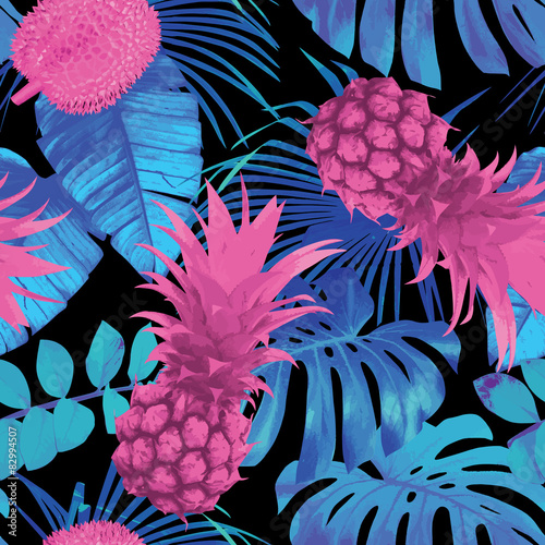Foto Rollo Basic - tropical fruits and leaves seamless background (von berry2046)