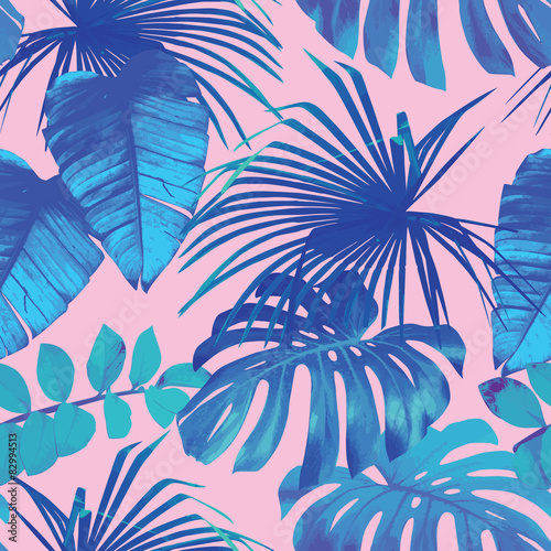 mata magnetyczna tropical leaves seamless background