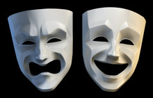 Theater Masks. Tragicomic Theater Grotesque Masks Isolated On Black Background. White Colored Version. 3D-rendering Graphics.