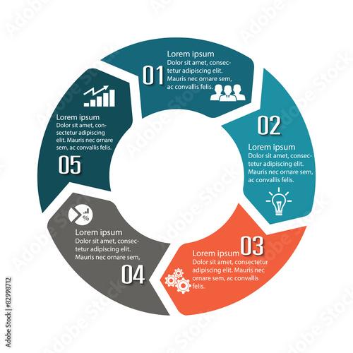 Fotografía  Circle infographic label five option colorful design