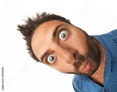 Man with surprised expression Wall mural