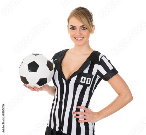 Soccer Referee With Football