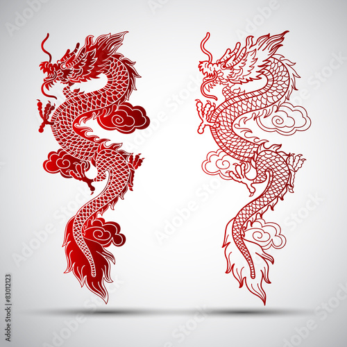 Fotografie, Tablou  Illustration of Traditional chinese Dragon ,vector illustration