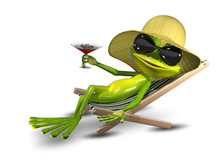Frog In A Hat On A Deck Chair With A Glass