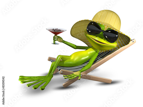Canvas Print Frog in a hat on a deck chair with a glass