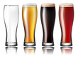 Glass with Beer. Lager, Stout, Amber Isolated On White Background. Vector Illustration.