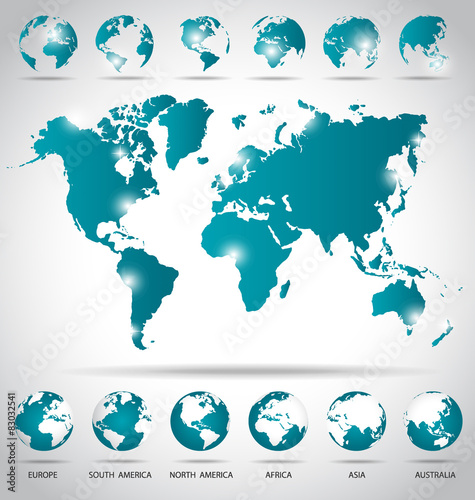 Modern globes and world map vector illustration buy this stock modern globes and world map vector illustration gumiabroncs Images