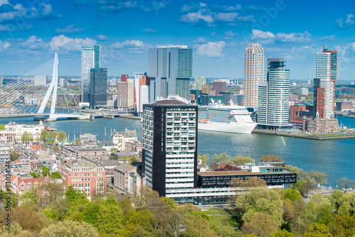 Staande foto Rotterdam Rotterdam, Netherlands. City skyline on a beautiful sunny day