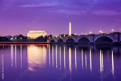 Poster Prune Washington DC Monuments on the Potomac
