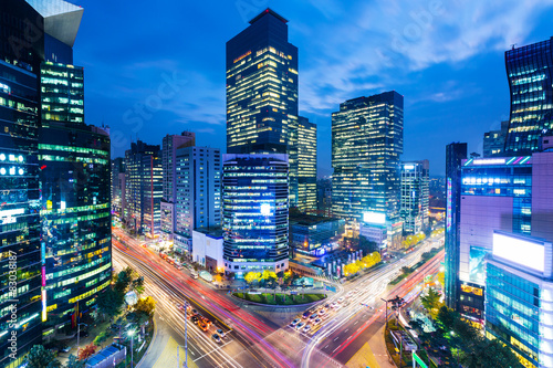 Seoul skyline at the gangnam district Canvas Print