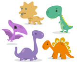 Fototapeta Dino - set of cute dinosaurs