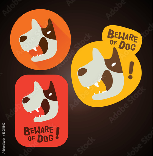 Beware of dog sign, label, Sticker