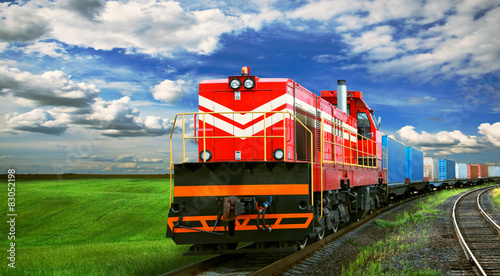 fototapeta na drzwi i meble freight train with space for text
