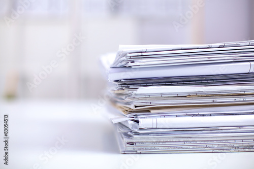 Fototapeta Big stack of papers ,documents on the desk obraz