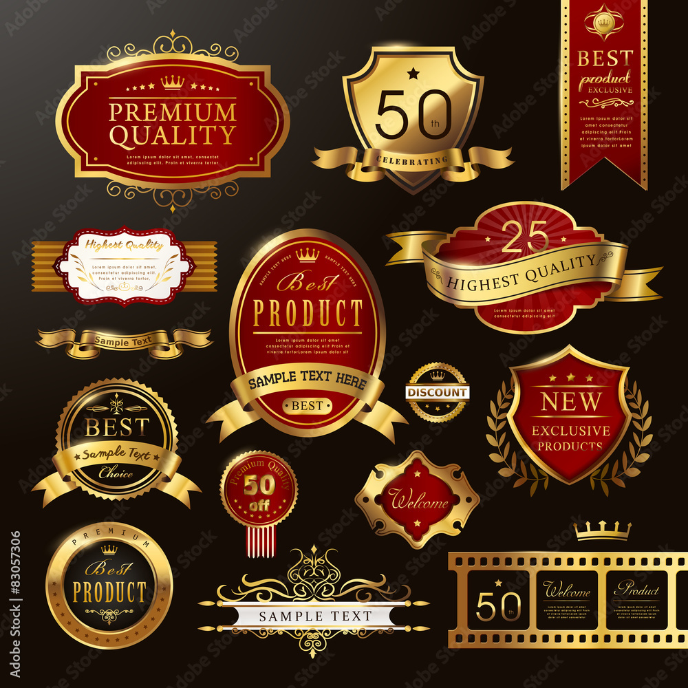 Fototapeta elegant premium quality golden labels collection