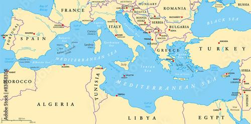 Mediterranean Sea Region Political Map Wallpaper Mural