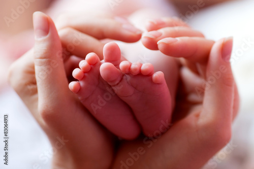 Fototapeta Baby feet cupped into mothers hands