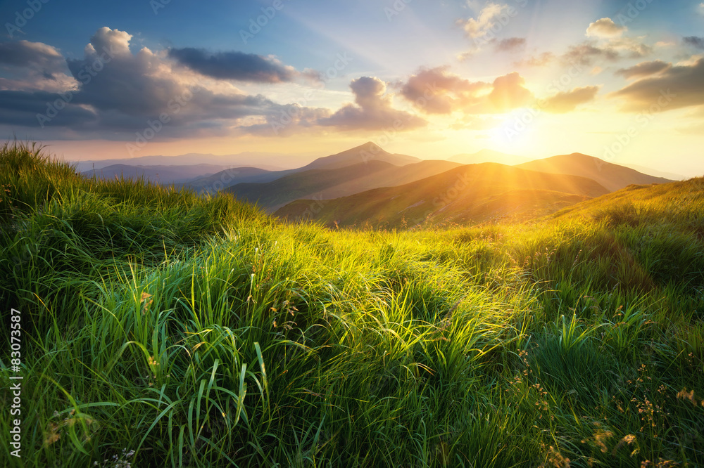 Fototapety, obrazy: Mountain valley during sunset. Natural summer landscape