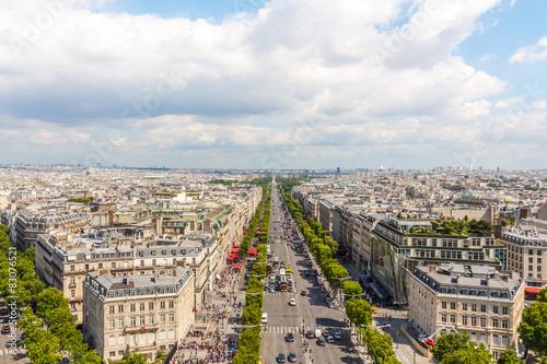 Papiers peints Paris Champs elysees Avenue view from Arc de Triomphe, Paris, France