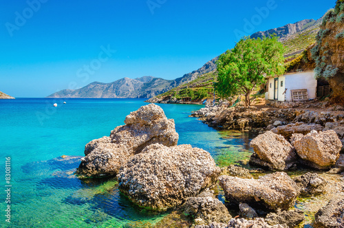 Garden Poster Cyprus A view of amazing Greek bay with clear water, Greece