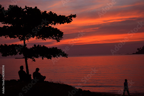 Spoed Foto op Canvas Bordeaux sunset in goa
