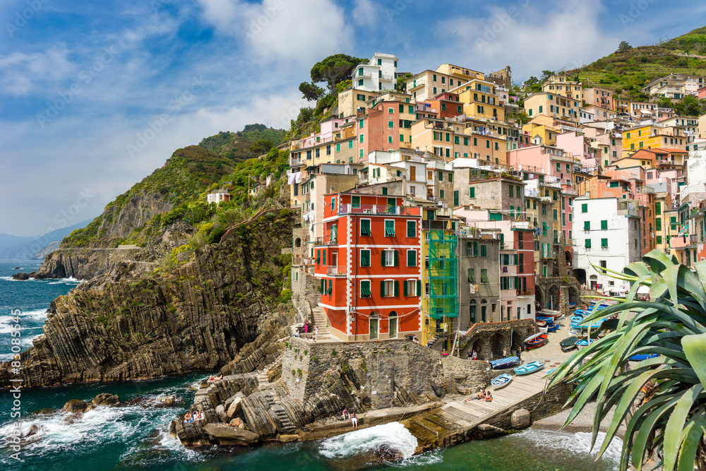 Fototapeta Town on the rocks Riomaggiore Liguria Italy