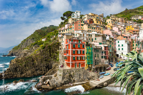 Fototapeta Town on the rocks Riomaggiore Liguria Italy obraz