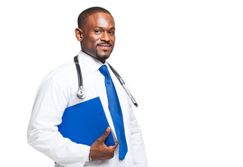 Black doctor portrait isolated on white