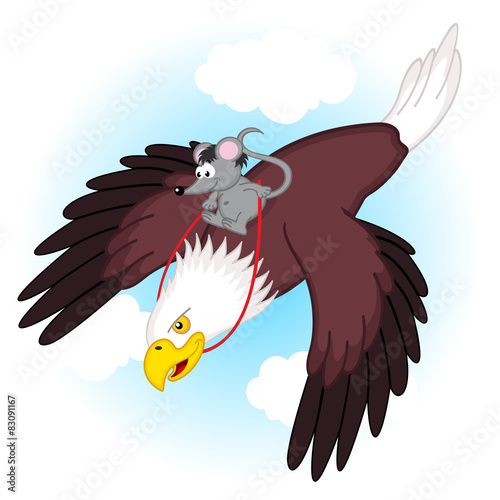 Staande foto Zoo mouse riding on eagle - vector illustration, eps