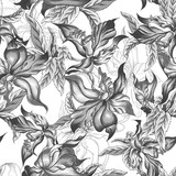 Monochrome Seamless Background with Exotic Flowers