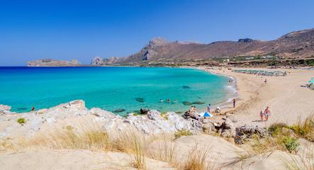 View on beautiful beach of Falasarna at Crete island