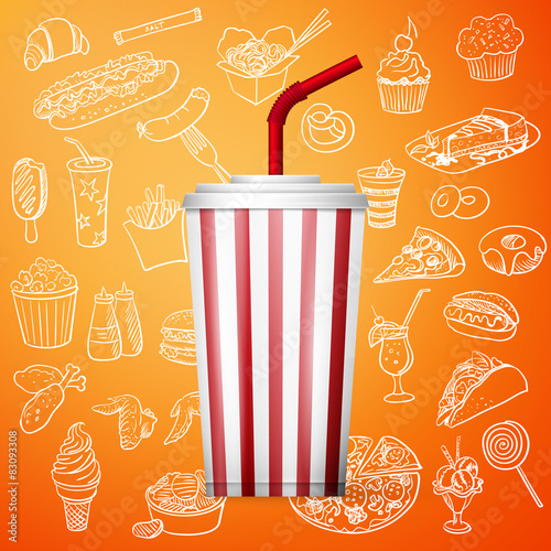Photo  soda fountain drink and hand draw fast food icon