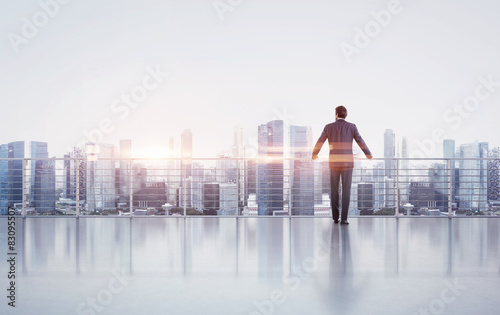 Businessman standing on a roof and looking at sunset Wallpaper Mural