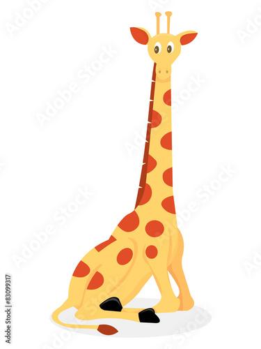 Poster de jardin Zoo Cartoon Giraffe Sitting Down
